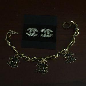 Jewelry - Leather & Gold Charm Bracelet & Earrings